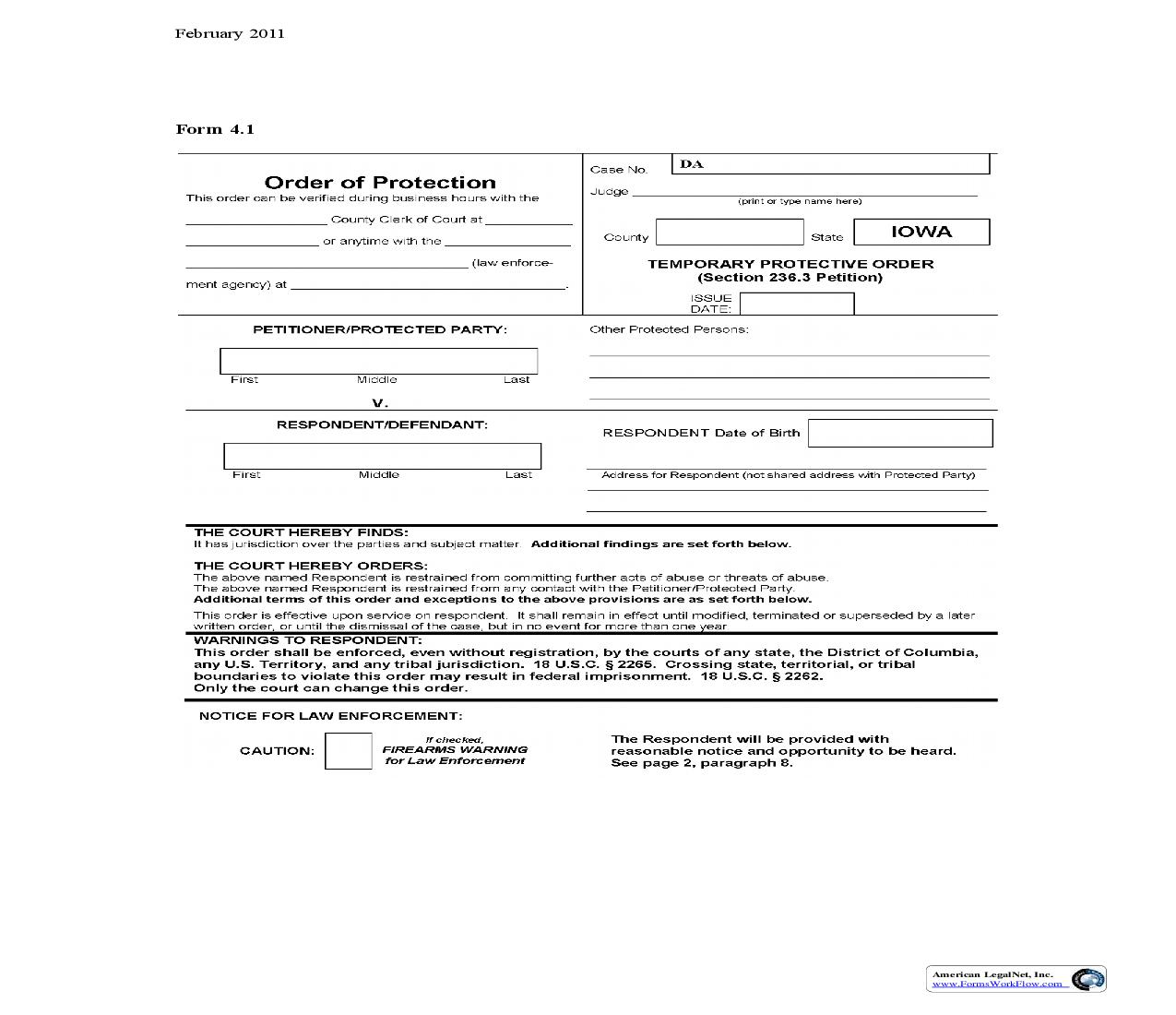 Temporary Protective Order (Section 236.3 Petition) {4.1} | Pdf Fpdf Doc Docx | Iowa