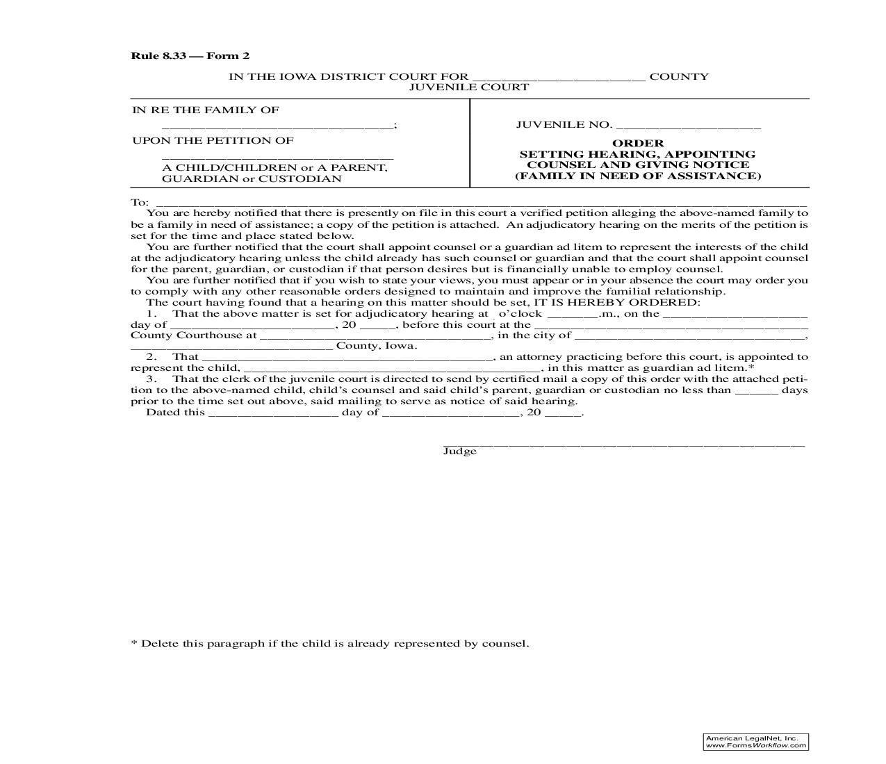 Order Setting Hearing, Appointing Counsel And Giving Notice (Family In Need Of Assistance) {Rule 8.33 Form 2} | Pdf Fpdf Doc Docx | Iowa