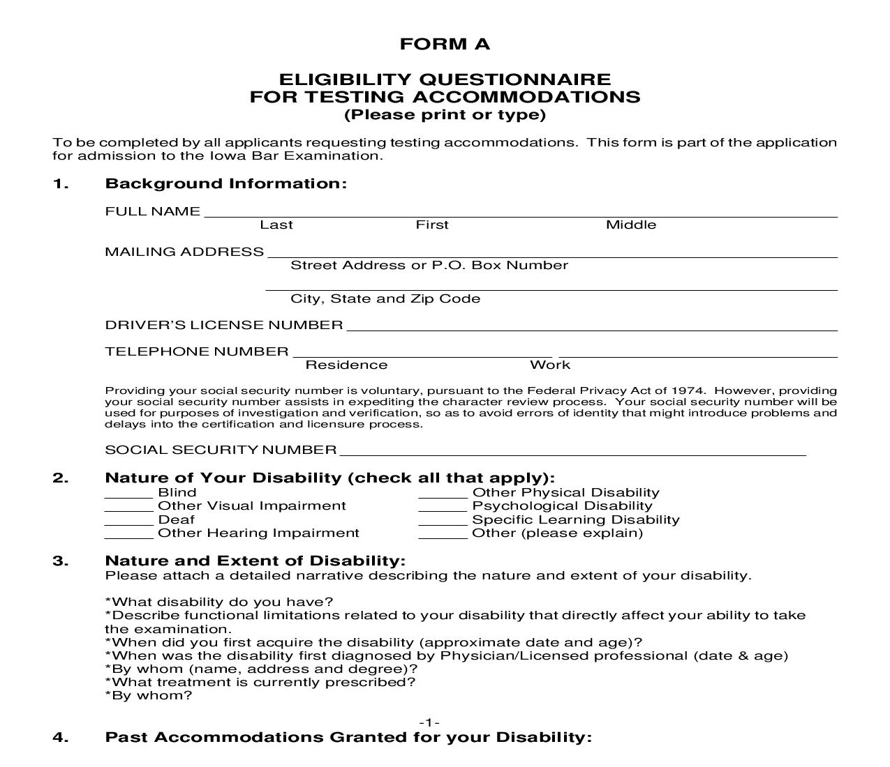 Application For Testing Accommodations - Form A | Pdf Fpdf Doc Docx | Iowa