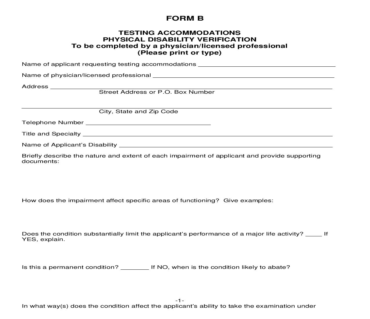 Application For Testing Accommodations - Form B | Pdf Fpdf Doc Docx | Iowa