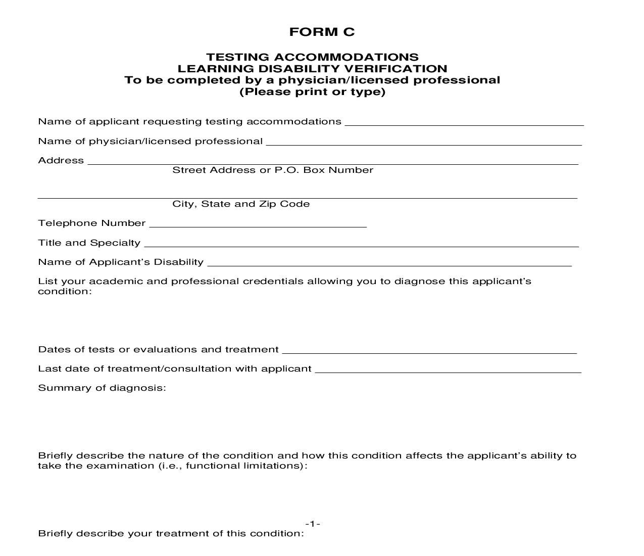Application For Testing Accommodations - Form C | Pdf Fpdf Doc Docx | Iowa