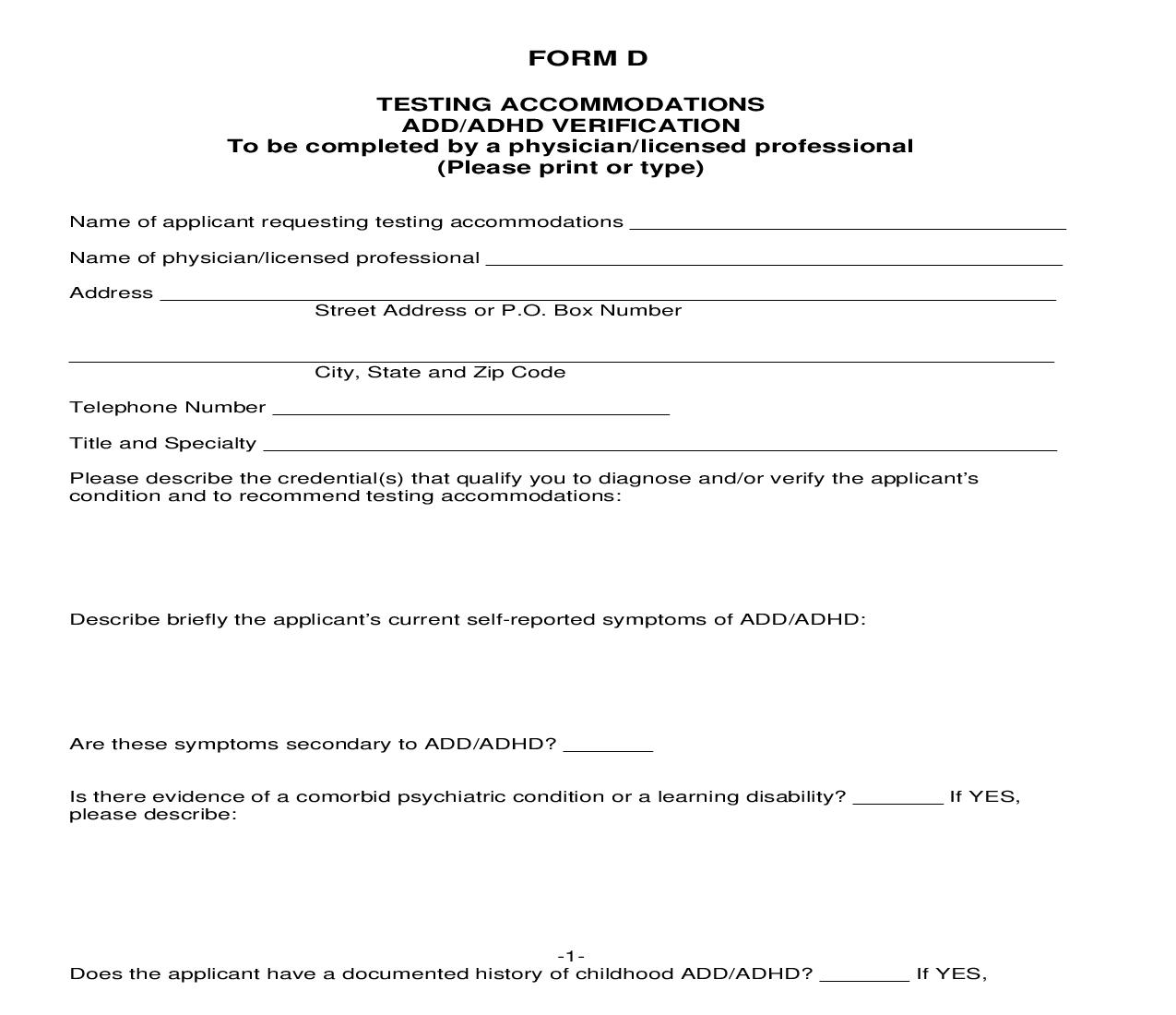 Application For Testing Accommodations - Form D | Pdf Fpdf Doc Docx | Iowa