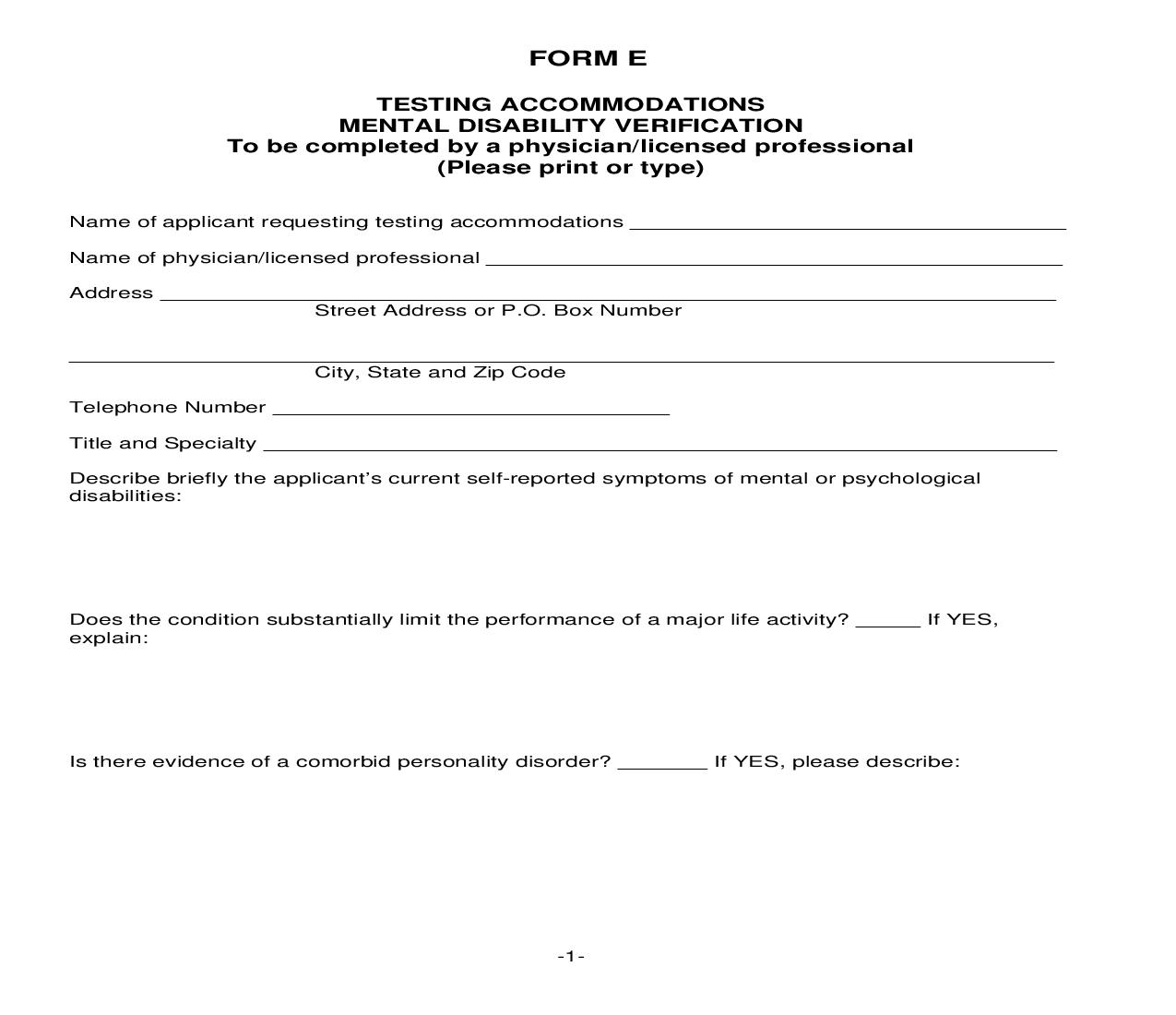 Application For Testing Accommodations - Form E | Pdf Fpdf Doc Docx | Iowa