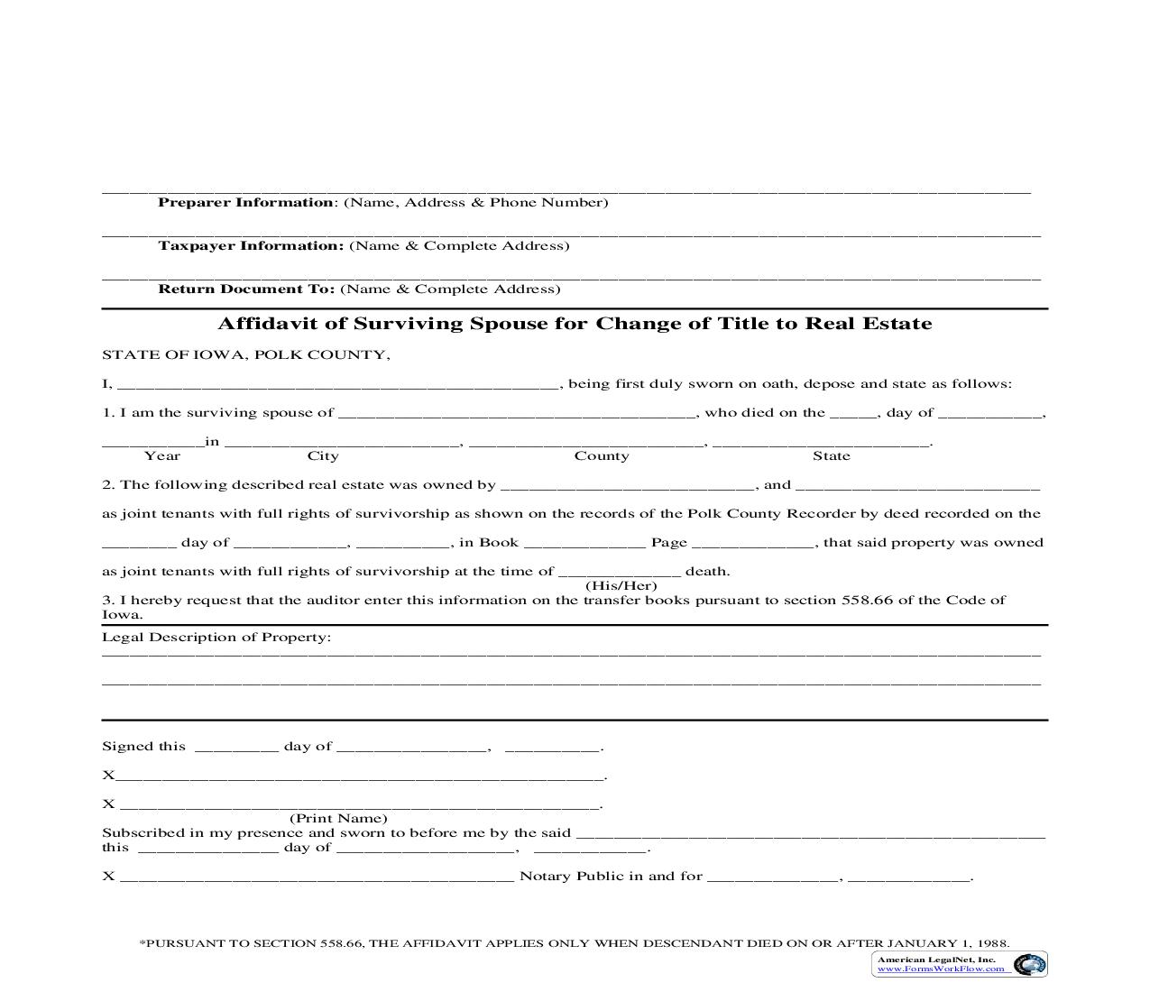 Affidavit Of Surviving Spouse For Change Of Title To Real Estate | Pdf Fpdf Doc Docx | Iowa