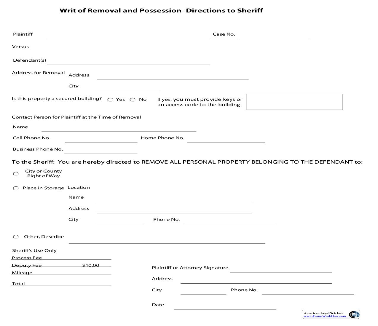 Writ Of Removal And Possession Directions For Service For Sheriff | Pdf Fpdf Doc Docx | Iowa