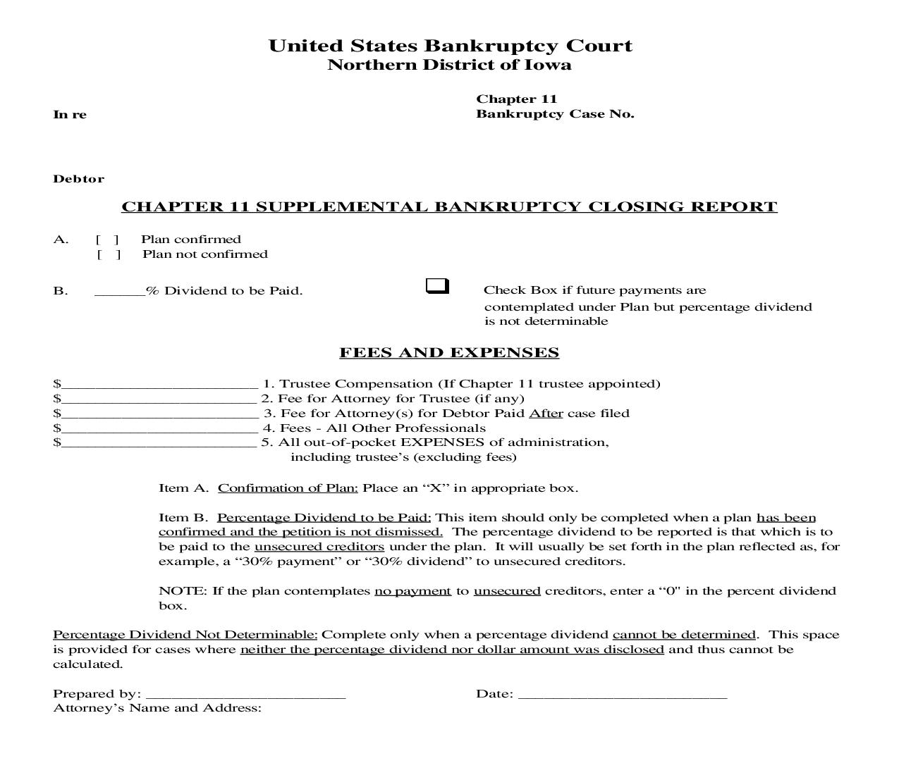Chapter 11 Supplemental Bankruptcy Closing Report | Pdf Fpdf Doc Docx | Iowa