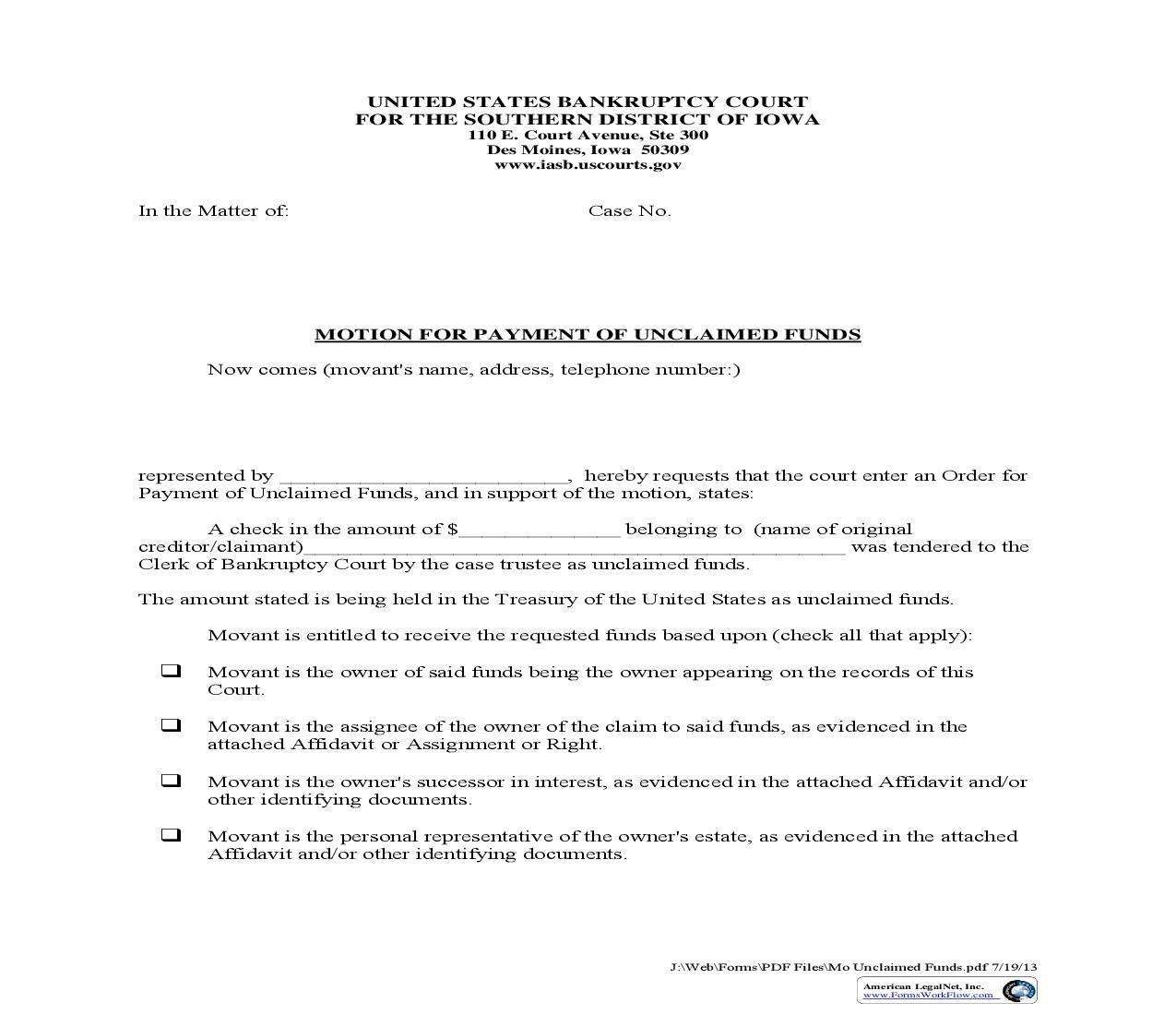 Motion For Payment Of Unclaimed Funds   Pdf Fpdf Doc Docx   Iowa