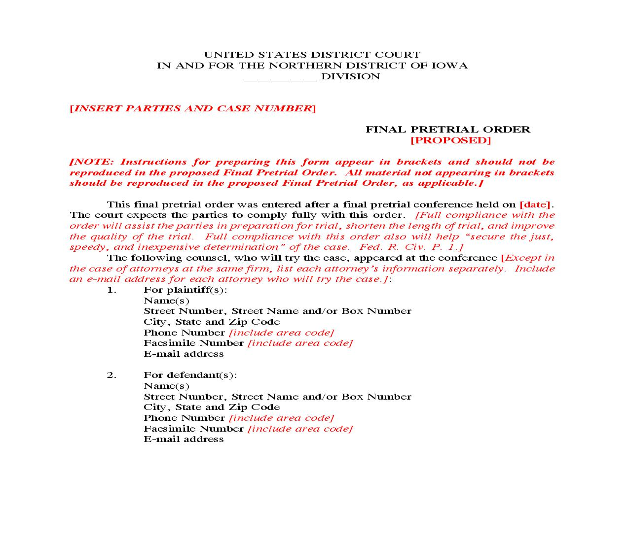 Proposed Final Pretrial Order (Sample And Form) | Pdf Fpdf Doc Docx | Iowa