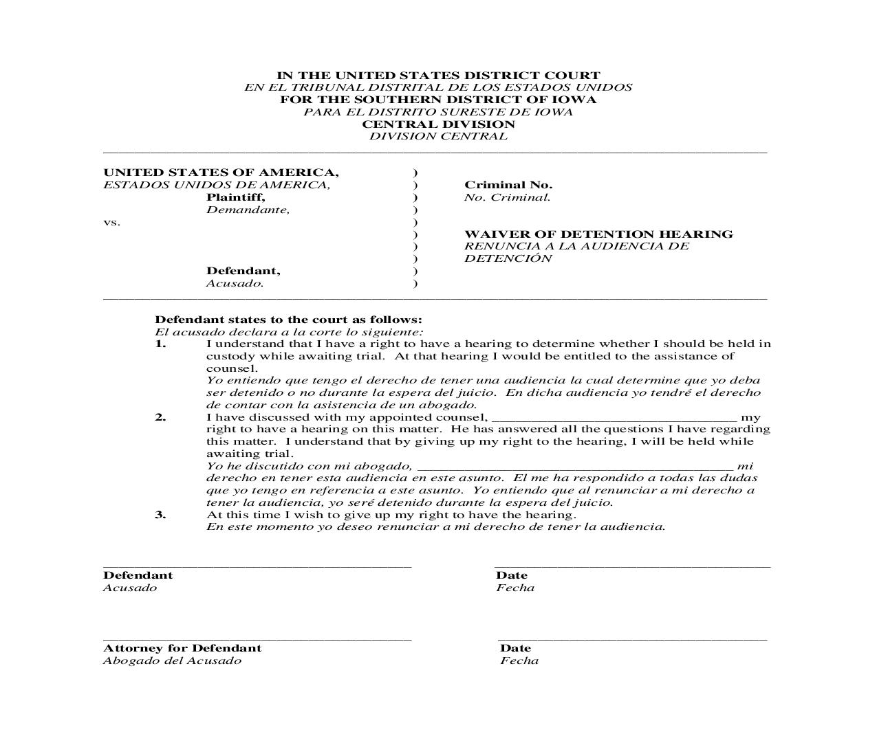 Waiver Of Detention Hearing (English And Spanish)   Pdf Fpdf Doc Docx   Iowa