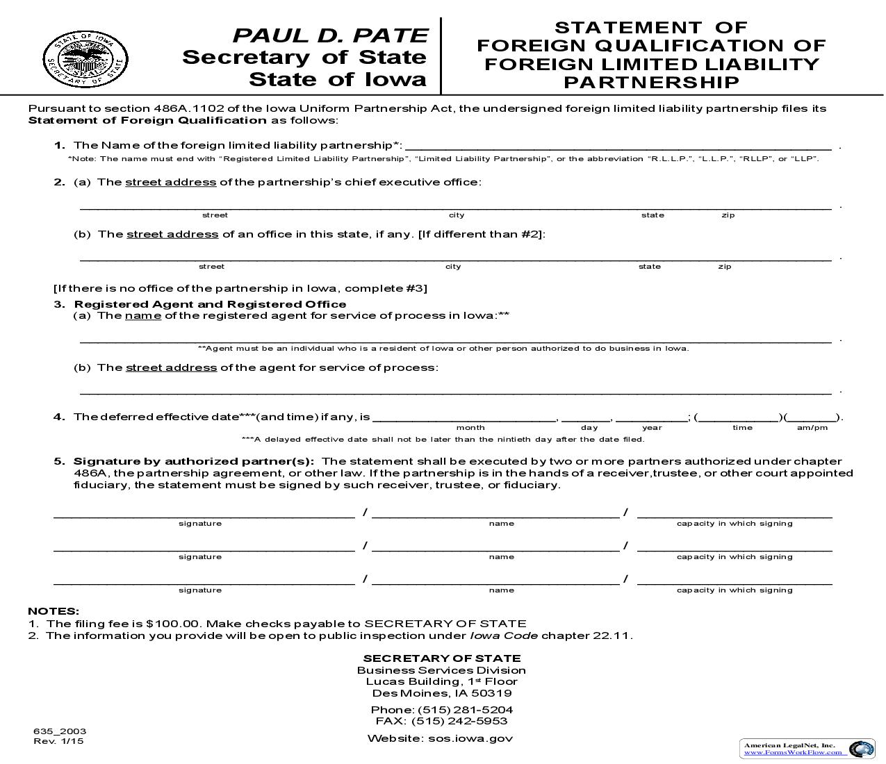 Statement Of Foreign Qualification Of Foreign Limited Liability Partnership {635_2003}   Pdf Fpdf Doc Docx   Iowa