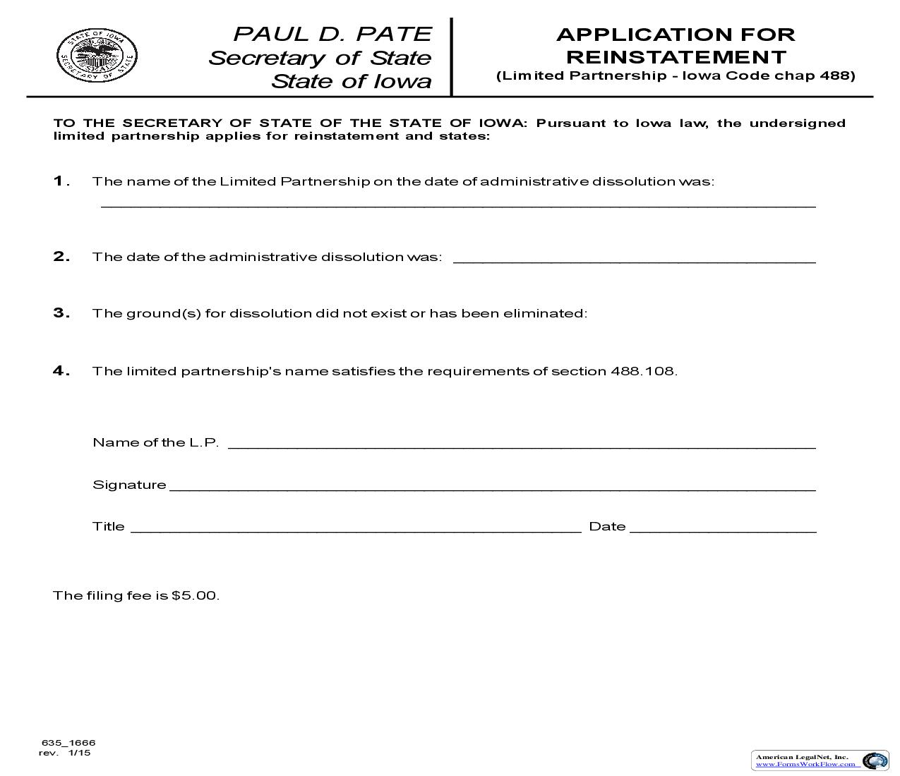 Application For Reinstatement (Limited Partnership) {635_1666} | Pdf Fpdf Doc Docx | Iowa