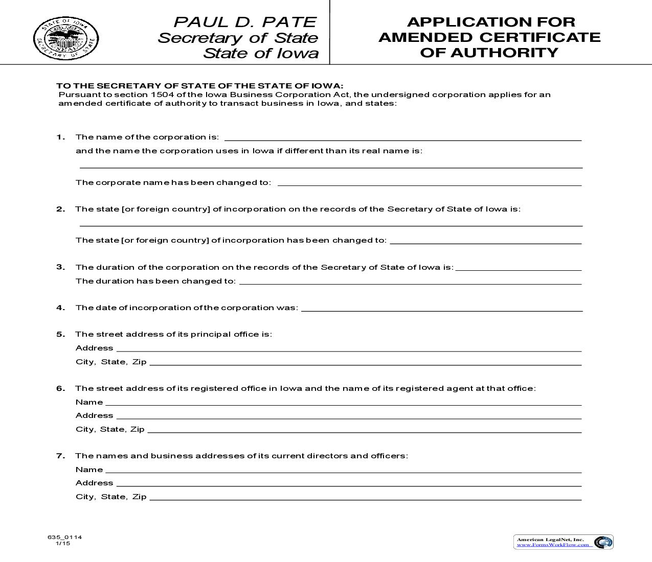 Application For Amended Certificate Of Authority {635_0114} | Pdf Fpdf Doc Docx | Iowa