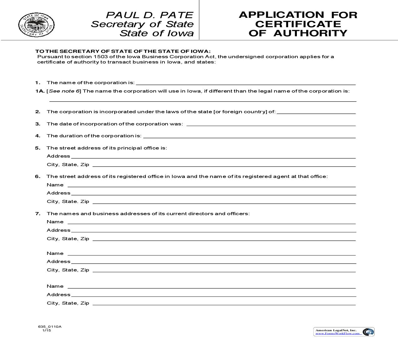 Application For Certificate Of Authority {635_0110A}   Pdf Fpdf Doc Docx   Iowa