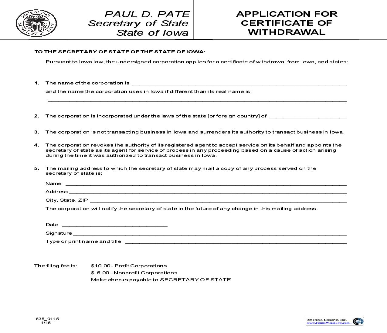 Application For Certificate Of Withdrawal {635_0115} | Pdf Fpdf Doc Docx | Iowa