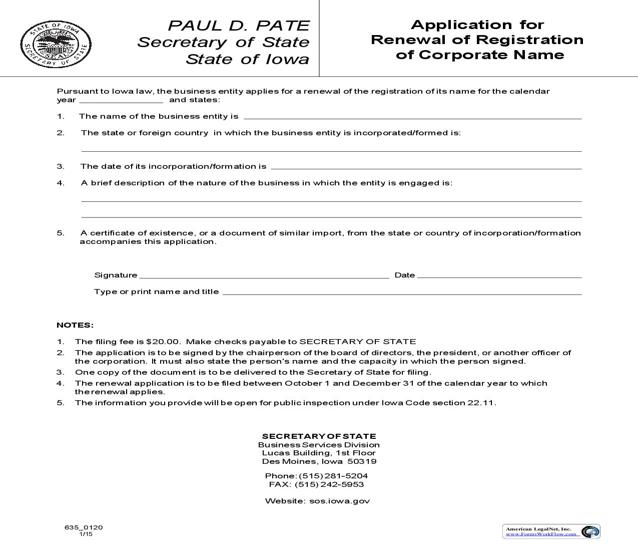 Application For Renewal Of Registration Of Corporate Name {635_0120} | Pdf Fpdf Doc Docx | Iowa