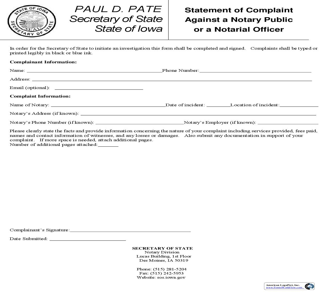 Statement Of Complaint Against Notary Public | Pdf Fpdf Doc Docx | Iowa