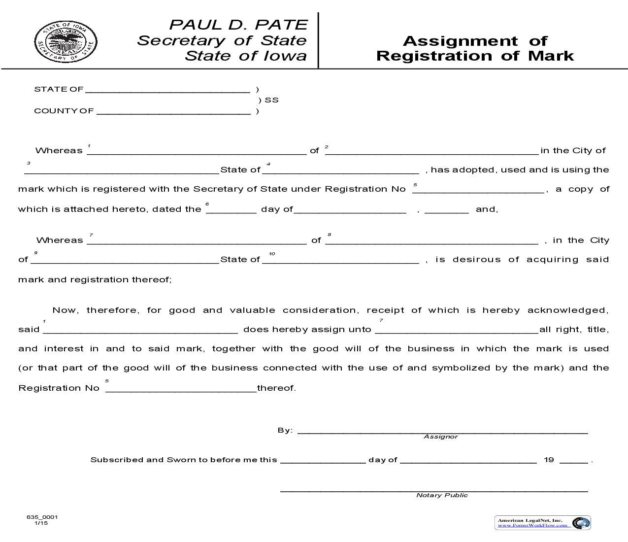 Assignment Of Registration Of Mark {635_0001} | Pdf Fpdf Doc Docx | Iowa
