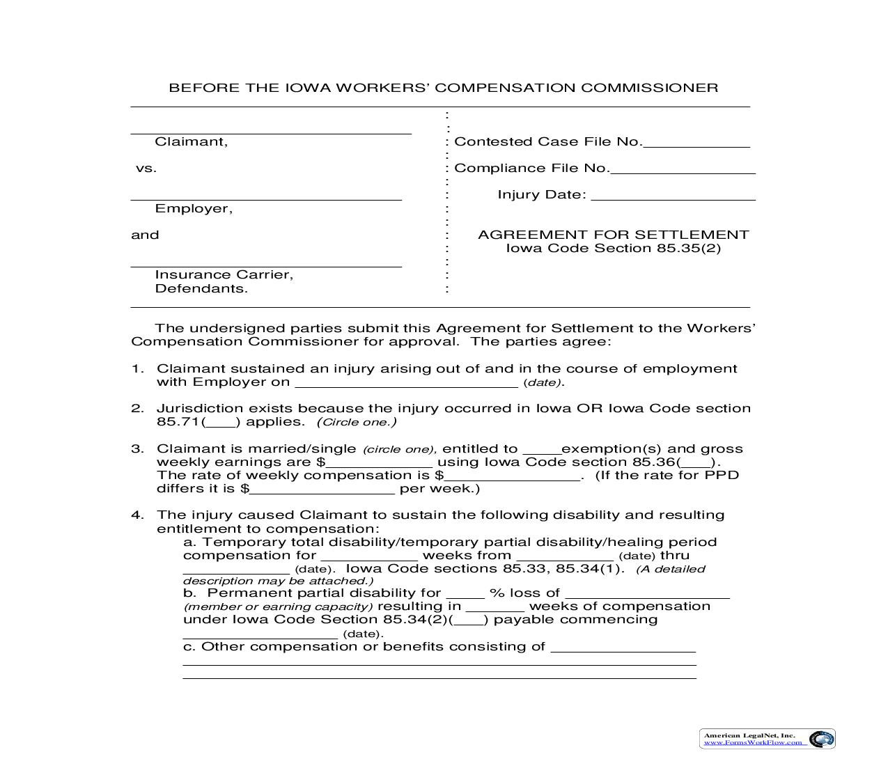 Agreement For Settlement {14-0021} | Pdf Fpdf Doc Docx | Iowa