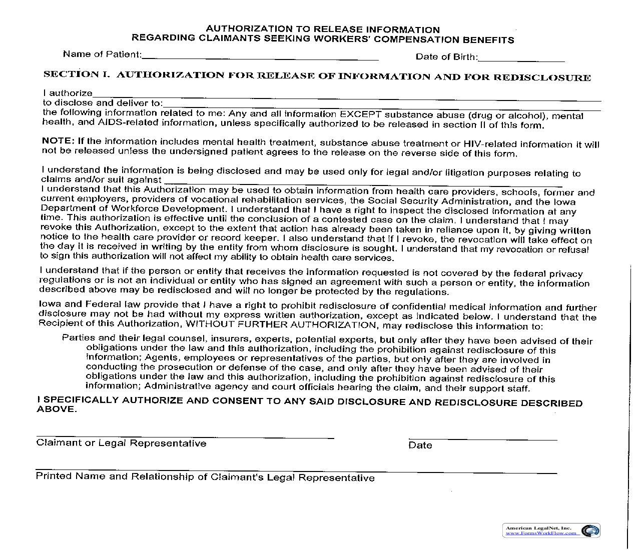 Authorization For Release Of Information (Patient Waiver) {14-0043} | Pdf Fpdf Doc Docx | Iowa