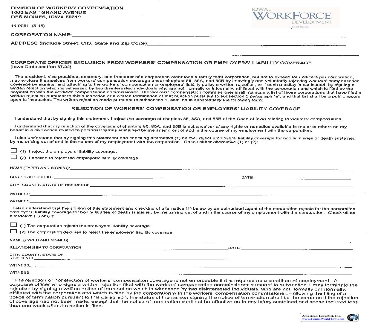 Corporate Officer Exclusion From Workers Compensation Or Employers Liability Coverage {14-0061} | Pdf Fpdf Doc Docx | Iowa