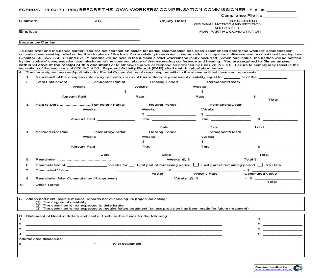 Original Notice And Petition And Order For Partial Commutation {9A} | Pdf Fpdf Doc Docx | Iowa