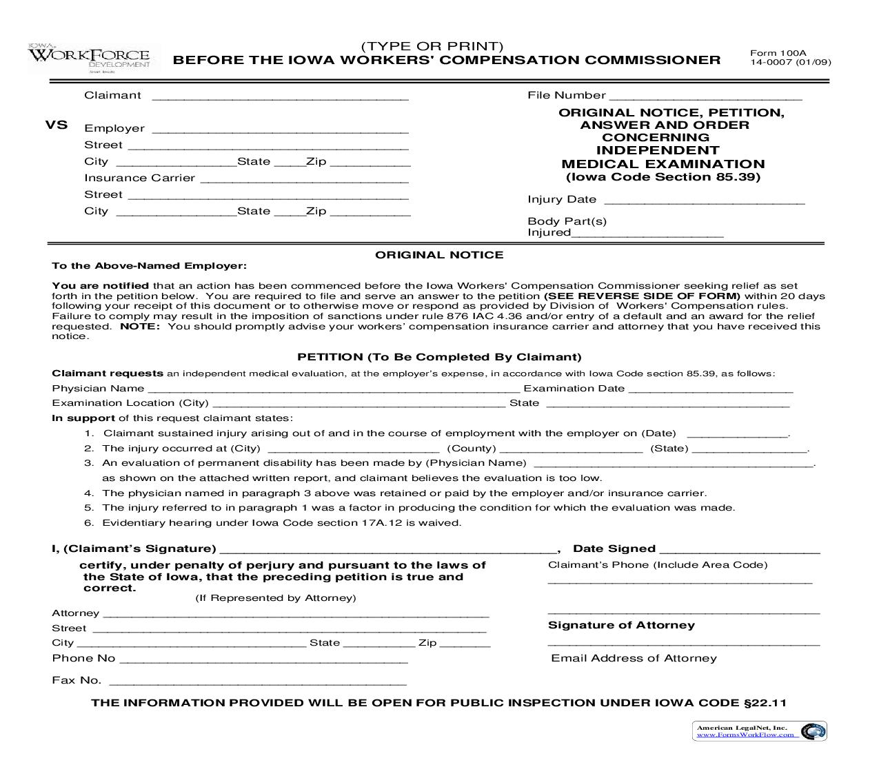 Original Notice Petition Answer And Order Concerning Independent Medical Examination {100A}   Pdf Fpdf Doc Docx   Iowa