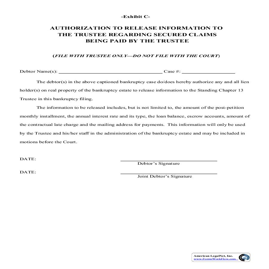 Authorization To Release Information To The Trustee Regarding Secured Claims | Pdf Fpdf Doc Docx | Kansas