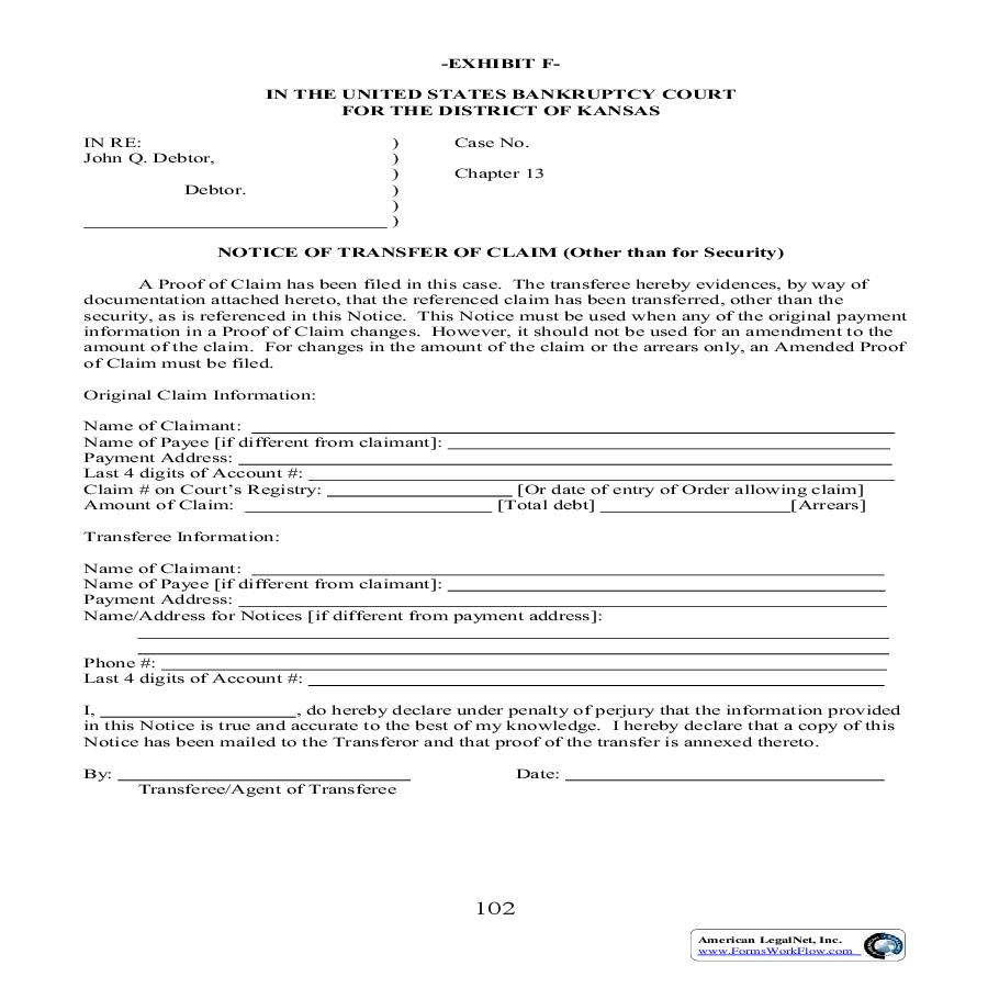 Notice Of Transfer Of Claim (Other Than For Security) | Pdf Fpdf Doc Docx | Kansas