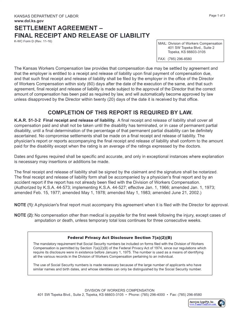 Settlement Agreement Final Receipt And Release Of Liability {K-WC Form D} | Pdf Fpdf Docx | Kansas