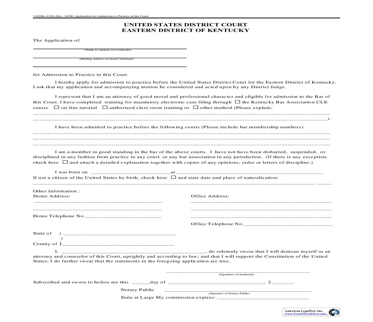 Attorney Admission Form {419A-EDKY} | Pdf Fpdf Doc Docx | Kentucky