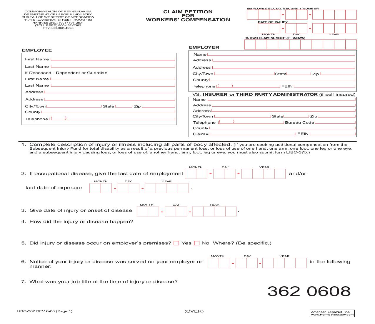 Claim Petition For Workers Compensation {LIBC-362} | Pdf Fpdf Doc Docx | KnoxLaw