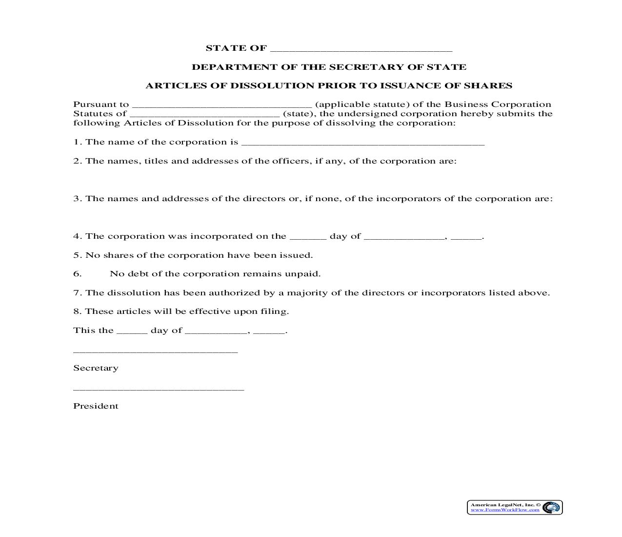 Articles Of Dissolution Prior To Issuance Of Shares | Pdf Fpdf Docx | Legal Forms
