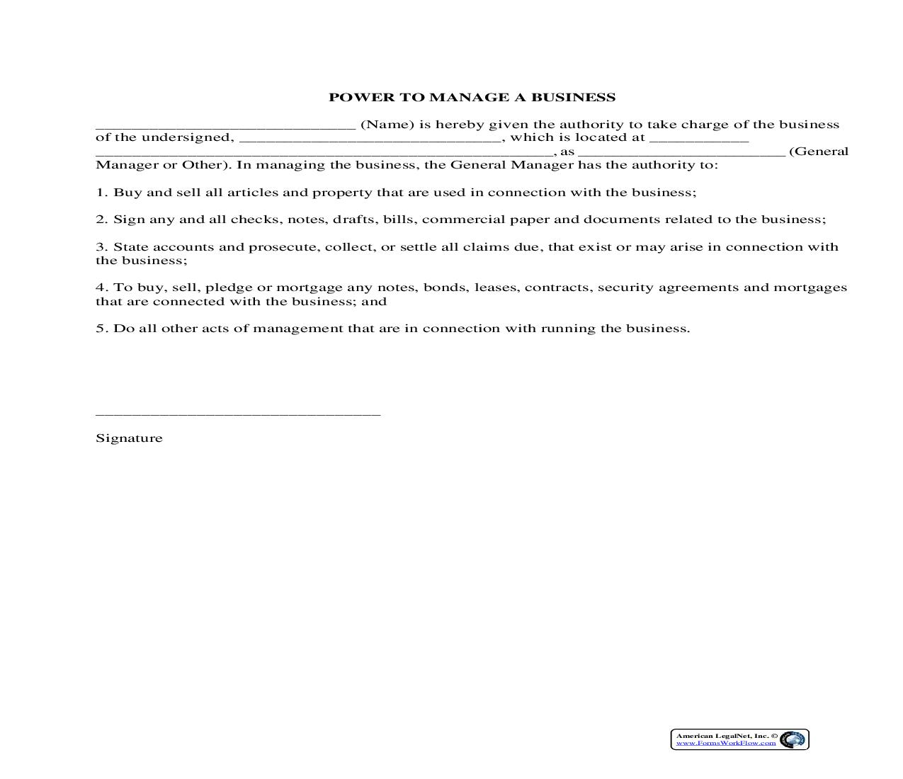 Power To Manage A Business {BUS-107} | Pdf Fpdf Docx | Legal Forms