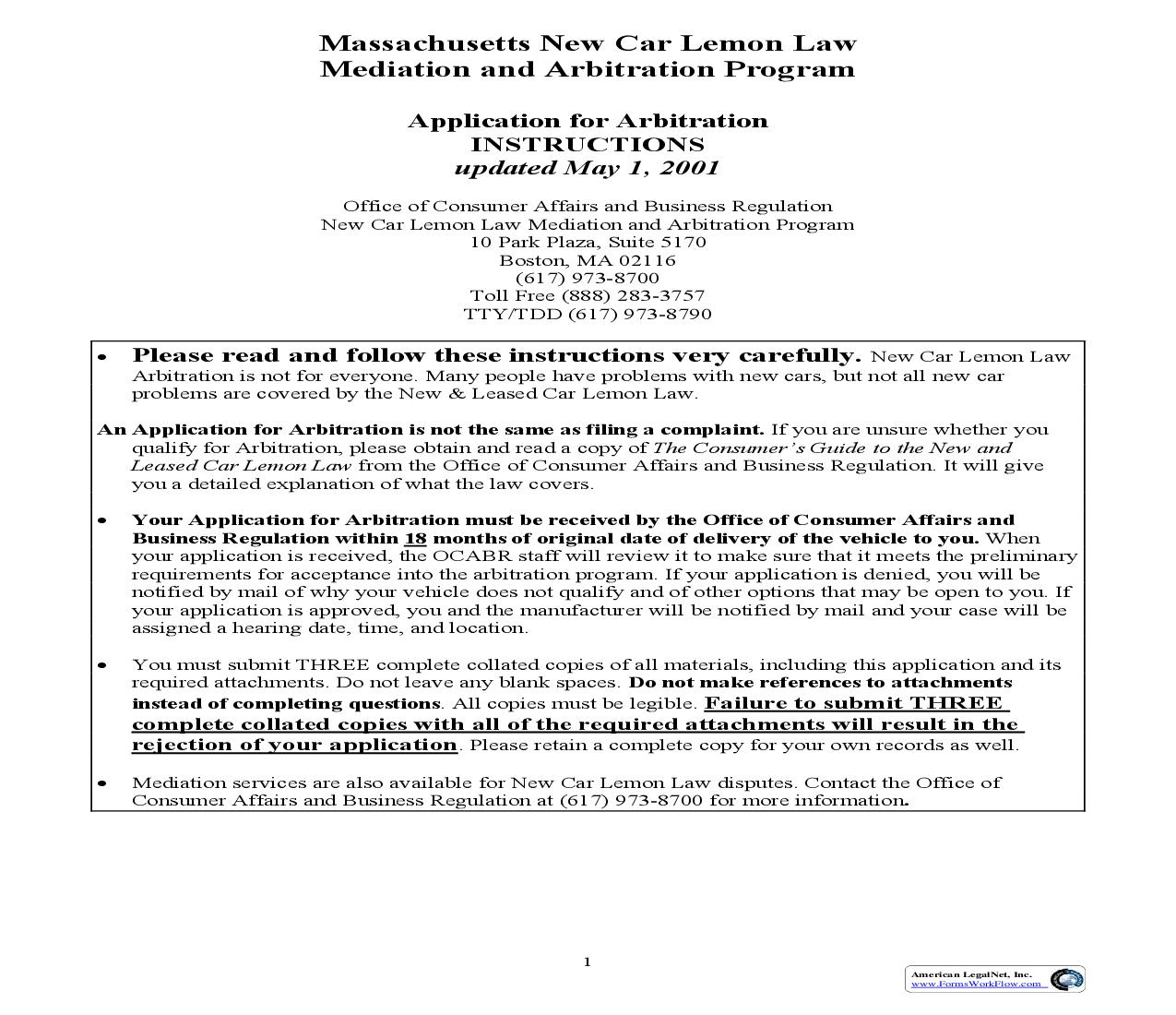 Application For Arbitration (New Car) (Massachusetts) | Pdf Fpdf Doc Docx | Legal Forms