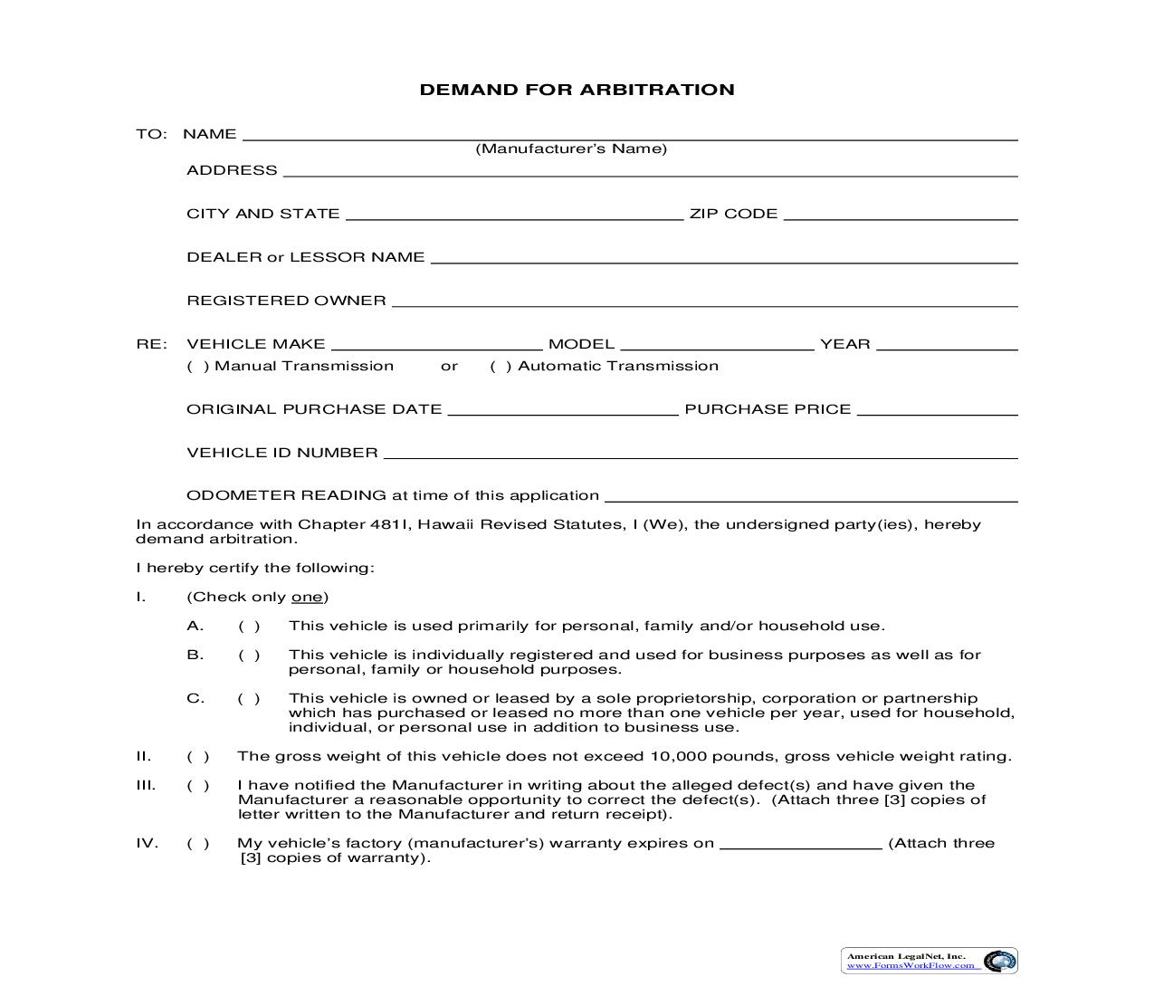 Demand For Arbitration (Hawaii) | Pdf Fpdf Doc Docx | Legal Forms