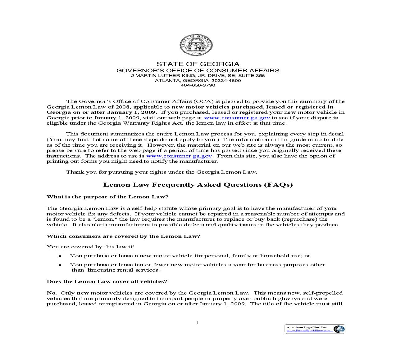 Lemon Law Info Packet (New Vehicles Purchased On Or After 1-1-09) (Georgia)   Pdf Fpdf Doc Docx   Legal Forms