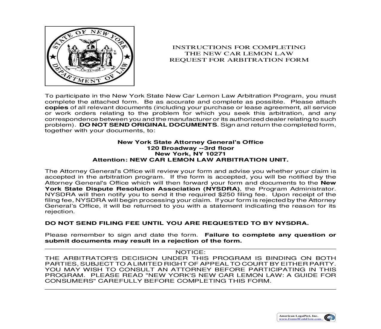 New Car Lemon Law Arbitration Program Request For Arbitration Form (New York) {CNS 006} | Pdf Fpdf Doc Docx | Legal Forms