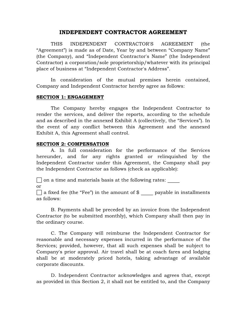 Independant Contractor Agreement {HR-711} | Pdf Fpdf Docx | Legal Forms