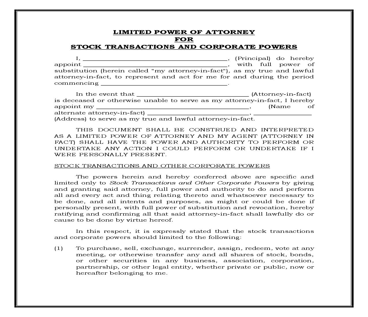 Limited Power Of Attorney For Stock Transactions And Corporate Powers (Generic) {POA 400} | Pdf Fpdf Docx | Legal Forms