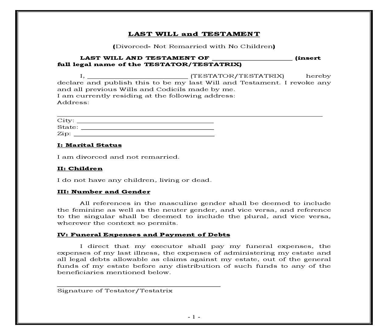 Divorced - Not Remarried - No Children (Generic) {WILL 302}   Pdf Fpdf Docx   Legal Forms