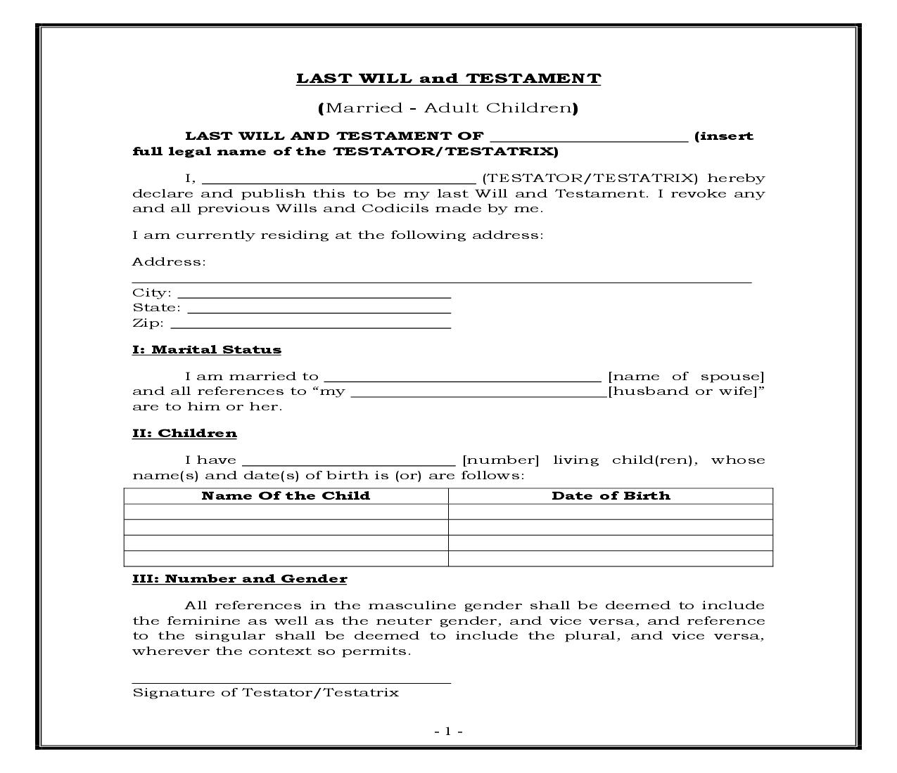 Married - Adult Children (Generic) {WILL 402} | Pdf Fpdf Docx | Legal Forms