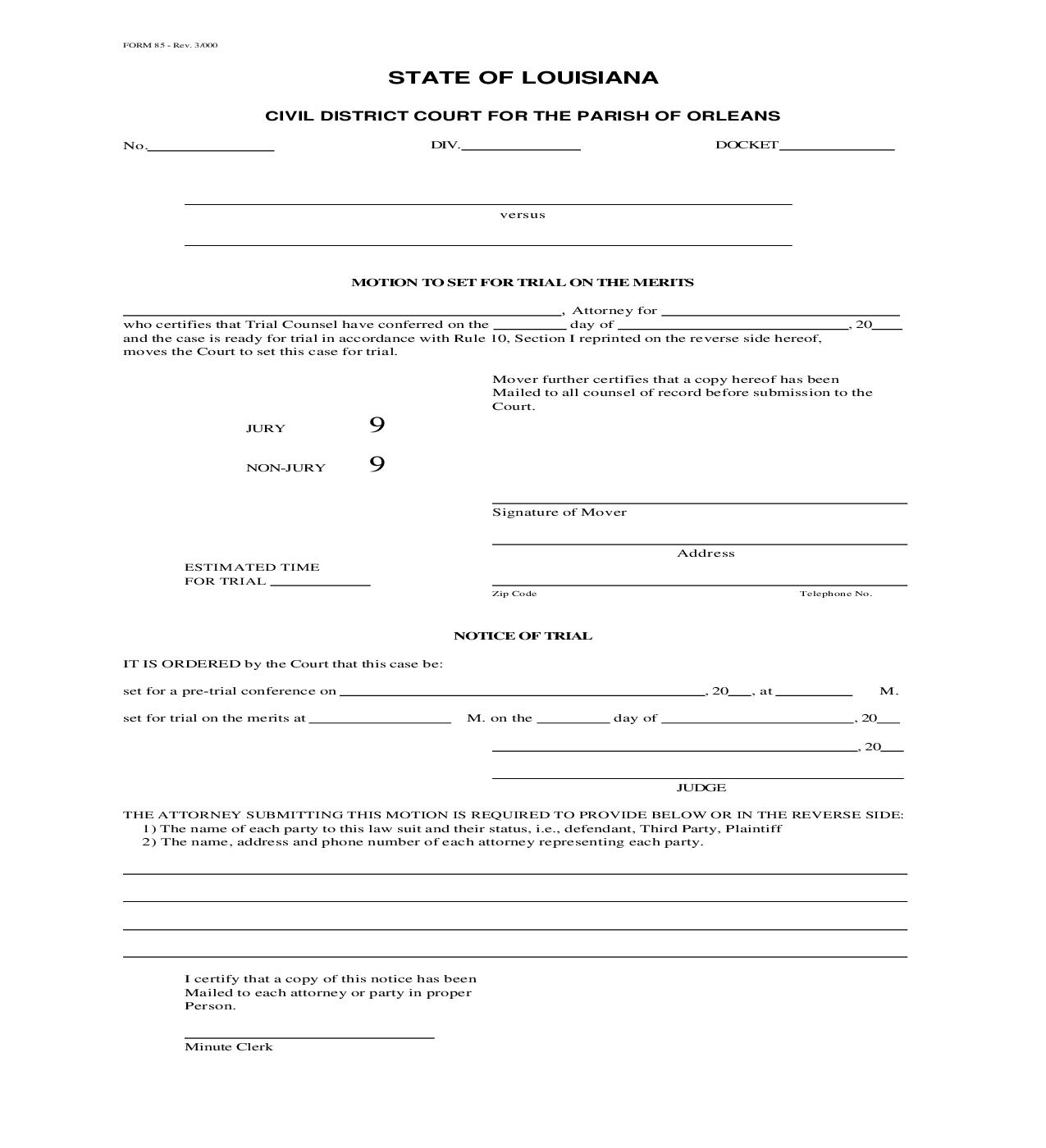 Motion To Set For Trial On Merits {85}   Pdf Fpdf Doc Docx   Louisiana