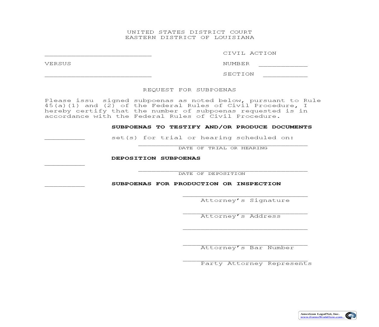 Request For Subpoenas (Civil Action) | Pdf Fpdf Doc Docx | Louisiana
