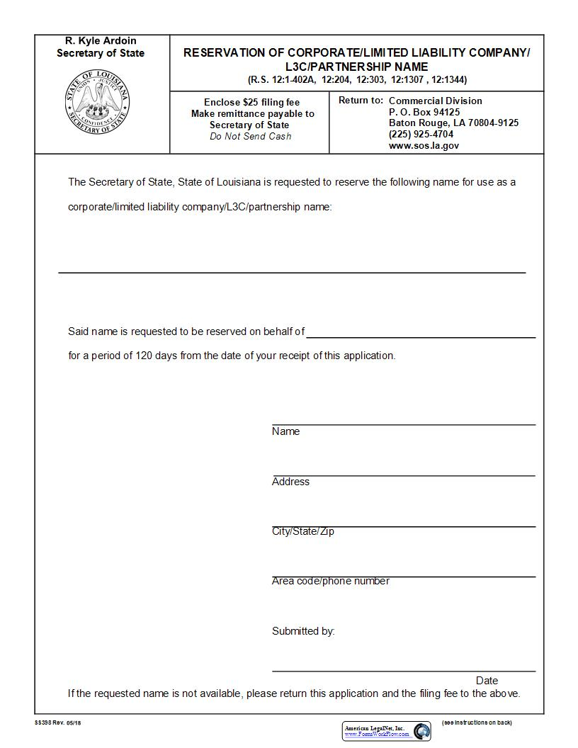 Reservation Of Corporate LLC L3C Or Partnership Name {398} | Pdf Fpdf Doc Docx | Louisiana