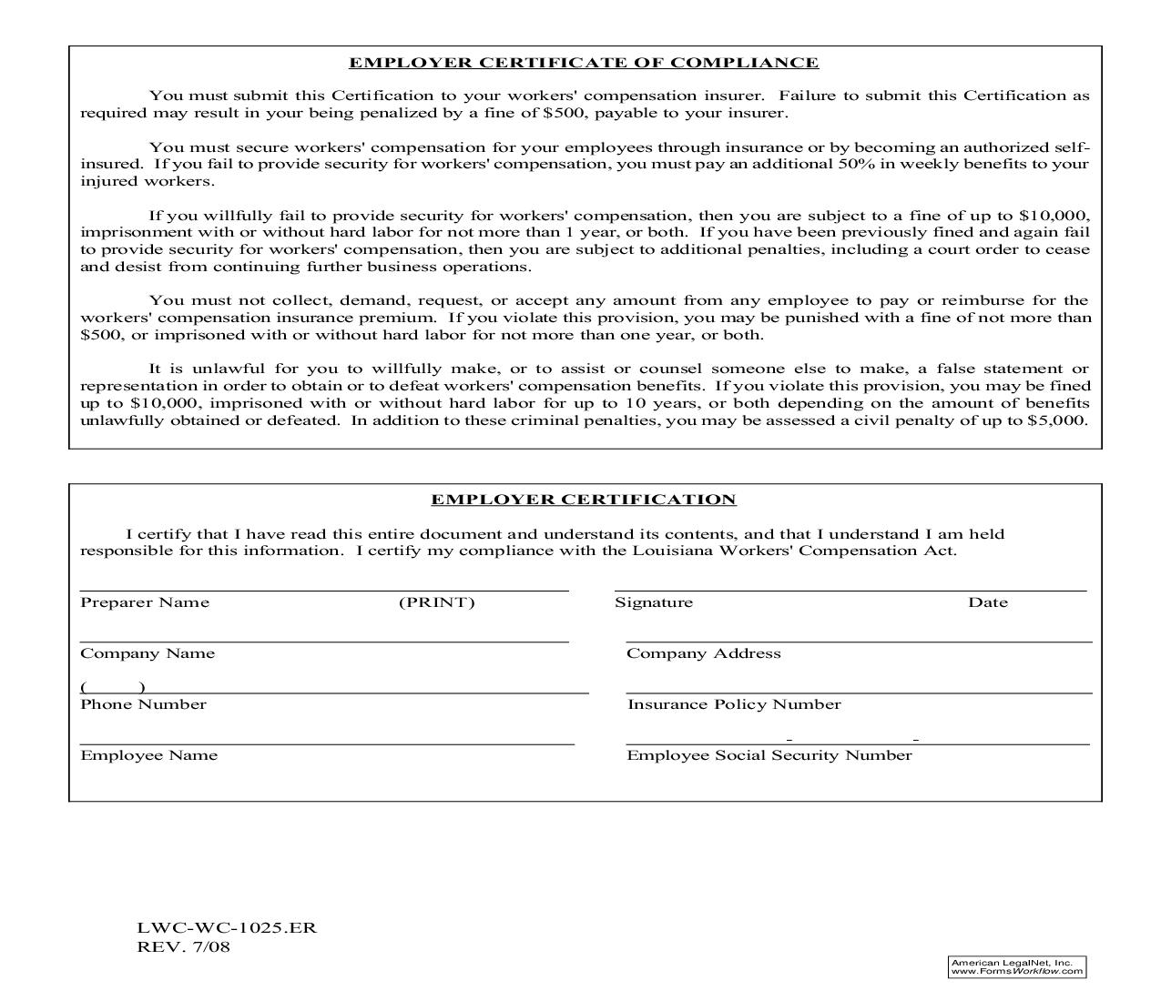 Employer Certificate Of Compliance {WC-1025.ER} | Pdf Fpdf Doc Docx | Louisiana