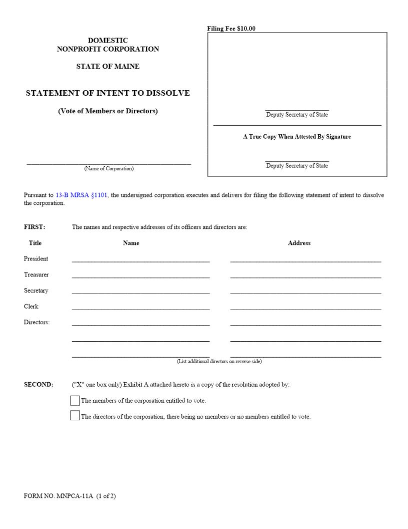 Statement Of Intent To Dissolve By Vote Of Members Or Directors {MNPCA-11A}   Pdf Fpdf Doc Docx   Maine