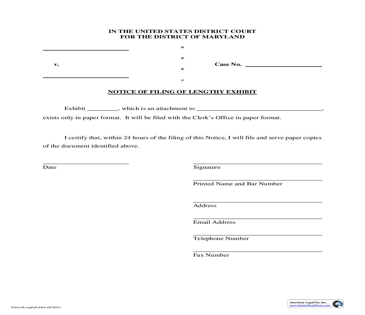 Notice Of Filing Of Lengthy Exhibit | Pdf Fpdf Doc Docx | Maryland