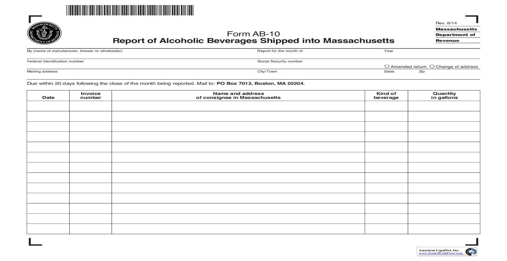 Report Of Alcoholic Beverages Shipped Into Massachusetts {AB-10} | Pdf Fpdf Doc Docx | Massachusetts