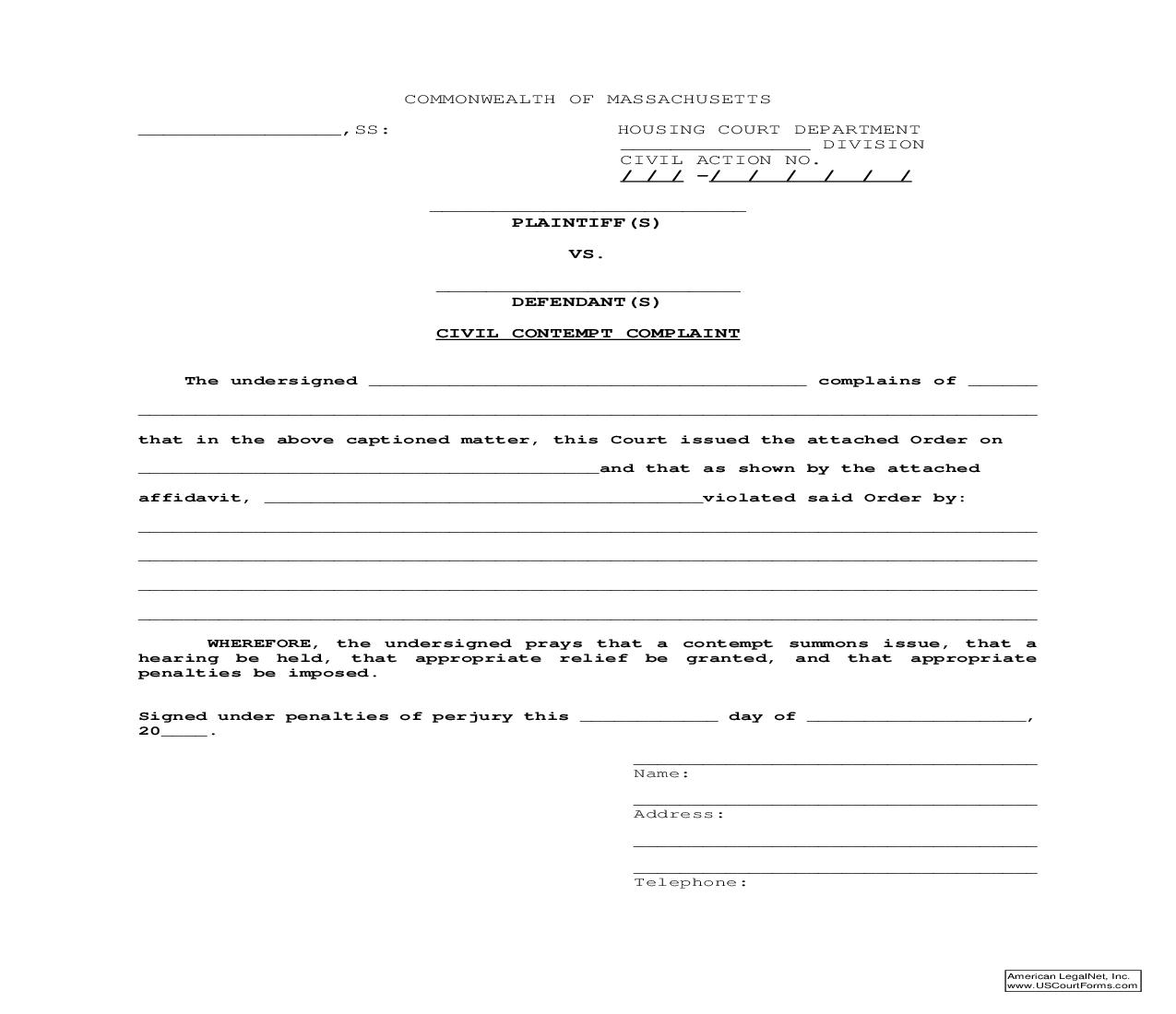 Civil Contempt Complaint | Pdf Fpdf Doc Docx | Massachusetts