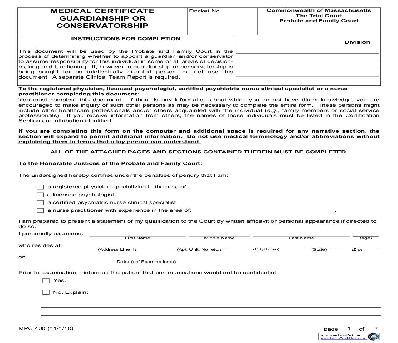 Medical Certificate For Guardianship-Conservatorship {MPC 400} | Pdf Fpdf Doc Docx | Massachusetts